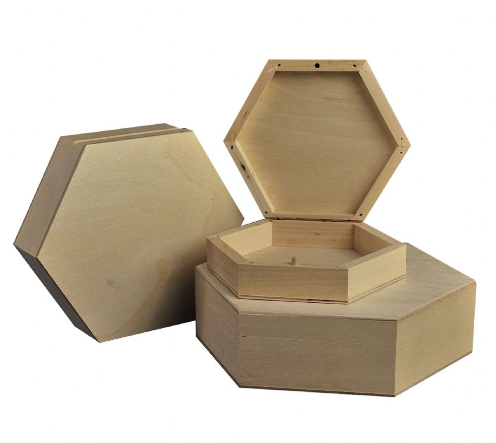 Plain hexagonal wooden boxes - set of 3